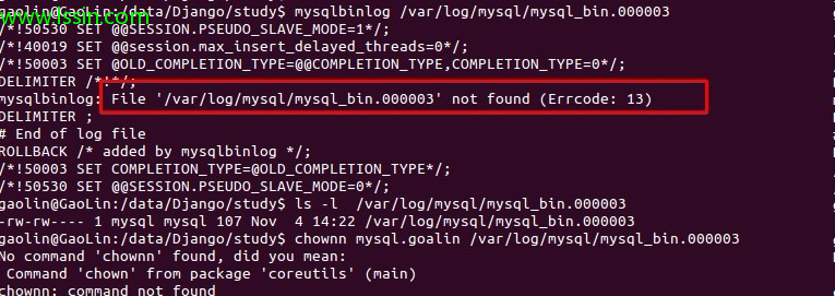 mysqlbinlog: File '/var/log/mysql/mysql_bin.000003' not found
